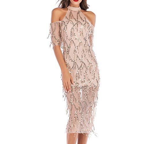SANFASHION Damen Minikleider,Frauen Halfter Halben Hülse aus Schulter Pailletten Quaste Cocktail Abendkleid Kleider
