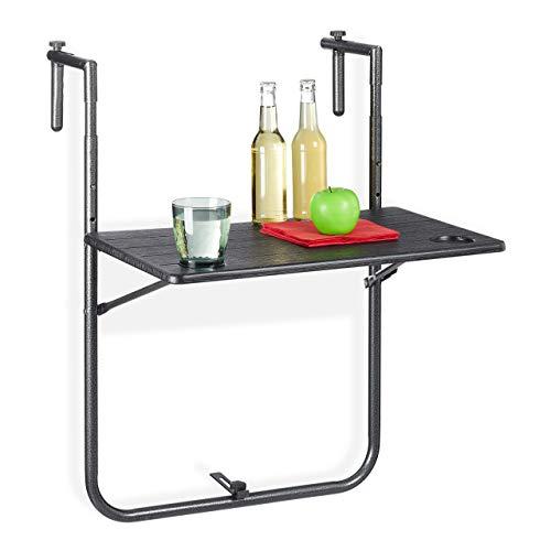 Relaxdays Balkonhängetisch klappbar, 3-Fach höhenverstellbar, Tischplatte in Holz-Optik B x T: 59,5 x 36 cm, schwarz