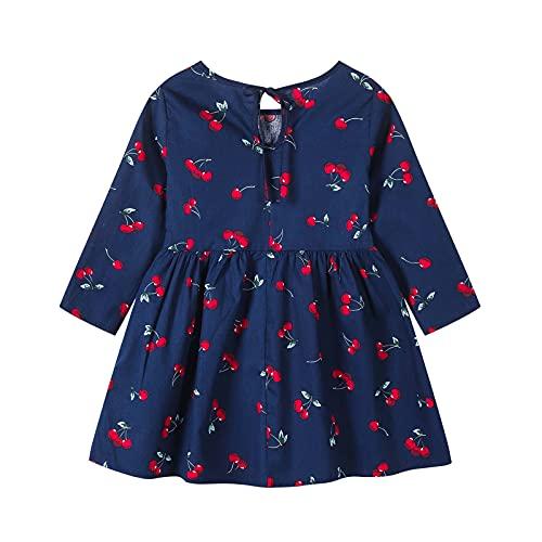 Bebé niña manga larga casual girasol vestido algodón trajes ropa de salón, A-azul marino, 2-3 Años