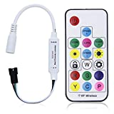 ALITOVE WS2812B WS2811 Addressable LED Controller RF Remote Wireless Mini Controller 5~24V DC for WS2812 WS2811 Dream Color Rainbow RGB LED Pixel Strip Panel Light, 3pin JST Connector 200 Color Modes