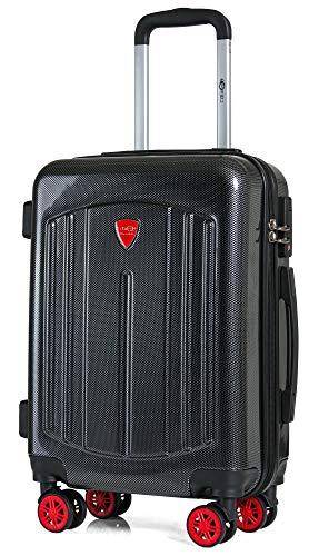 CABIN GO 5610 Valigia Trolley ABS, Carbon Look, bagaglio a mano 55x40x20, Valigia rigida, guscio duro e antigraffio con 8 ruote, effetto carbonio, Ideale a bordo di Ryanair, Alitalia, Air Italy, e