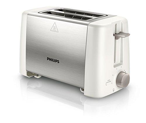 Philips HD4825/00 Zwei-Schlitz Toaster Auftau, Röst und Aufwärmfunktion, 800 W Edelstahl, weiß