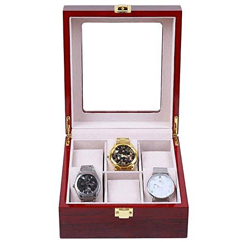 Caja de Reloj para Mujer, Reloj Rojo Vino, Caja de exhibición de Almacenamiento de Joyas, tragaluz de Vidrio de Madera, Hermosa Cerradura, Almacenamiento de 6 Relojes
