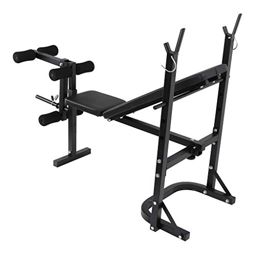 Folding Weight Bench With Weight Rack, Ajustable Fitness Benches 3 Backrest Incline Angles Home Gym Bench