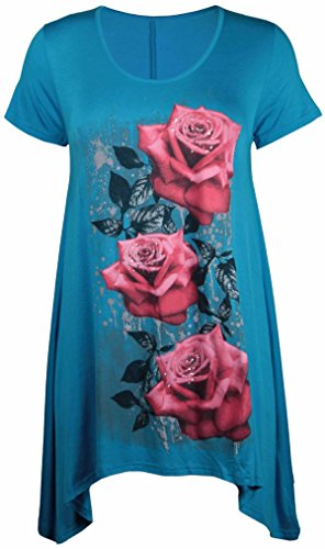 UW LOOK FASHION Nieuwe Womens Plus Size Ongelijke Hanky Hem T-shirt met korte mouwen Top Dames Bloemen Rose Print Jersey Tuniek (UK 14, Turquoise)