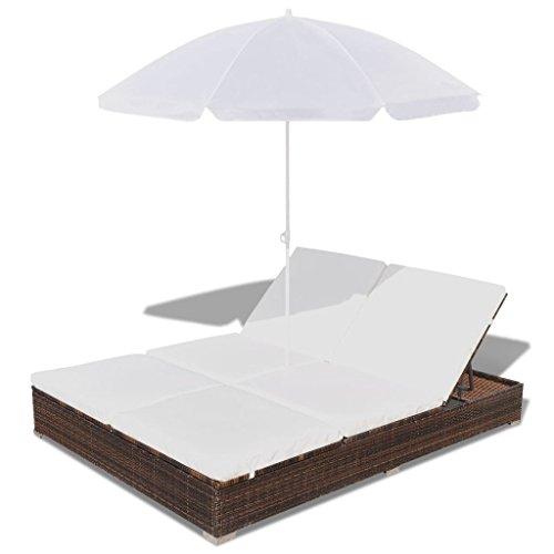 Ksodgun Tumbona Cama con sombrilla con Techo Parasol y sofá Cama ratán sintético marrón