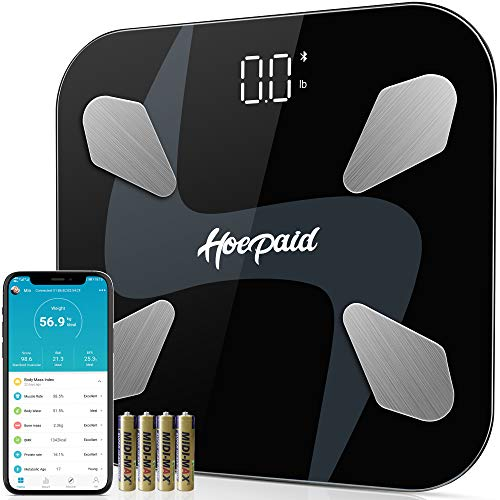 Hoepaid Body Fat Scale,Digital Body Weight Bathroom Scale,Bluetooth Wireless BMI Smart Scale,17 Kinds of Body Value Measurement,Highly Accurate Scale for Body Weight with Smartphone App,Black
