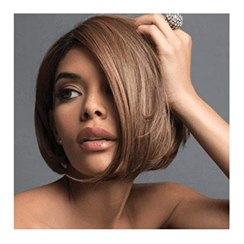Damen Perücke, europäische und amerikanische Perücke, schwarz-braun, mit Farbverlauf für kurzes Haar, Ultraleicht, hitzebeständig, Chemiefaser, Kopfbedeckung für Damen, Cosplay, Party, Alltag