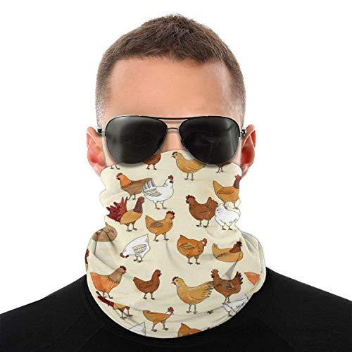 Summer A Brood of Chickens Bandana - Máscara facial con protección UV contra el polvo y los rayos UV, para correr, senderismo, motociclismo y ciclismo, color blanco y negro