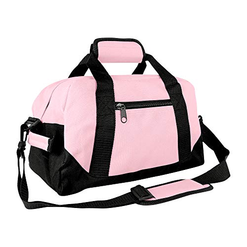 "DALIX 14"" Small Duffle Bag Two Toned Gym Travel Bag (Pink)"