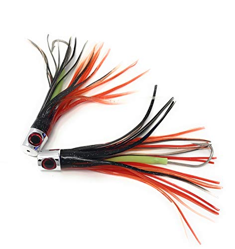 Capt Jay Fishing Lures Trolling Lures Saltwater for Tuna Marlin Dolphin Mahi Wahoo and Dorado, Rigged Big Game Fishing Lures trolling Surface Lures (Black red Mixed, 6.5 inch)