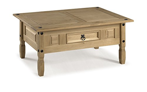 Mercers Furniture Corona Couchtisch, Massive Kiefer, Antique Wax, 100 x 60 x 45 cm