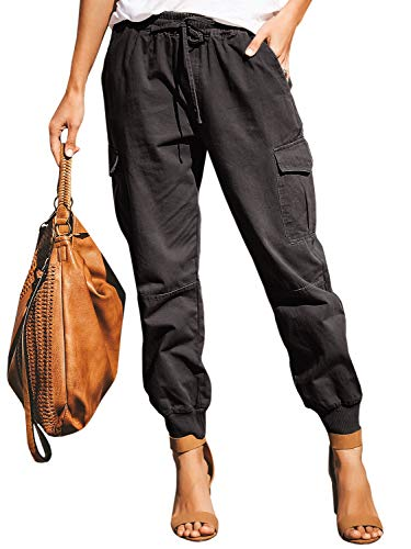 Meilidress Womens Casual Stretch Drawstring Skinny Pants Cargo Jogger Pants High Waisted Tie Butt Lift Pant with Pockets