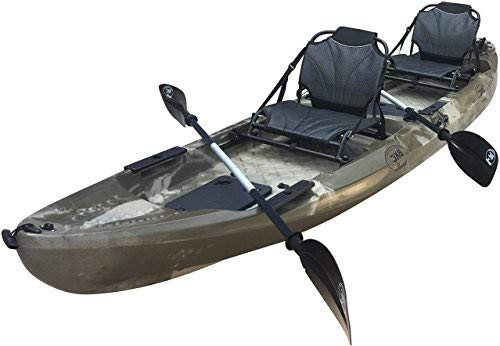 BKC UH-TK29 13 Foot Tandem 2-Person Sit On Top Fishing Kayak with Up-Right Seats and Paddles Included (Camo)