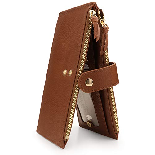 Otto Angelino Genuine Leather 2 Compartment Bifold Wallet with Phone Compatible Slots - RFID Blocking (Marrón Claro)