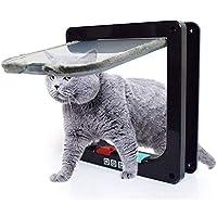 FEWG 猫ドア室内ドア、4つのウェイのロックキャットフラップドア窓インテリアアウトドア、簡単にドア食器棚を壁に取り付けます (Color : Black, Size : S)