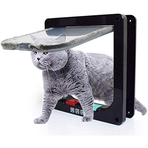 Tür Katzenklappe Hundeklappe 4 Wege Magnet-Verschluss für Katzen, Installieren Leicht mit Teleskoprahmen (Color : Black, Size : S)