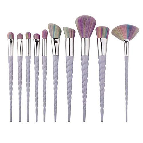 Llxhg Professionnel 10 Pcs Blanc Poignée Maquillage Brosses Ensemble Fondation Mélange Blush Visage Ombrage Cosmétique Brosse Maquillage Kit