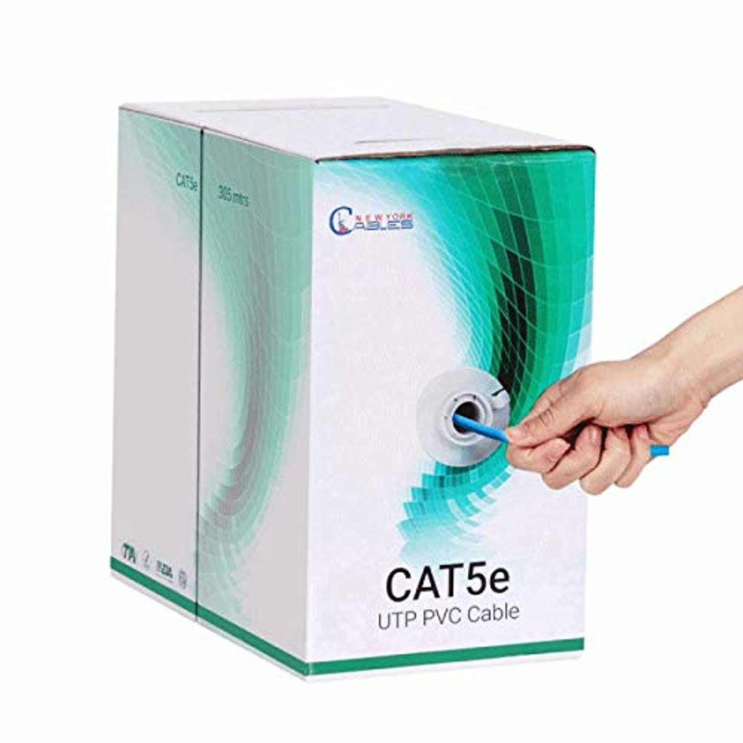 Cat5e Bulk 1000ft Riser Cable, UTP 350mhz Blue Cable - Pull Box