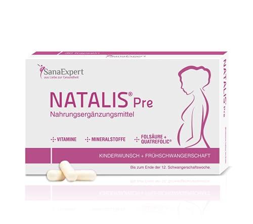 SanaExpert Natalis Pre, Vitamine bei Kinderwunsch & Früh-Schwangerschaft mit 800 µg Folsäure, Quatrefolic, Eisen, Monatspackung à 30 Kapseln (24 g)