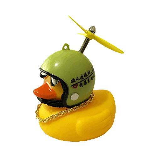 BSTiltion Gummiente mit Helm Auto-Dekoration, Gummiente Spielzeug mit LED-Licht, Squeeze Sound Spielzeug, Nette Mini Gelbe Ente Autozubehör, Fahrrad, Motorrad, Geschenk für Kinder, Frauen