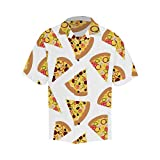 INTERESTPRINT Men's Short Sleeve Hawaiian Shirts with Black Button V-Neck Pizza Slices with Different Toppings XL