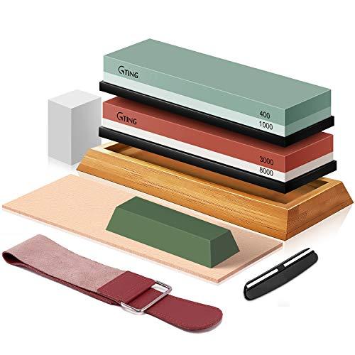Knife Sharpening Stone Set, G-TING 400/1000 and 3000/8000 Grit Whetstone Knife Sharpener Kit with Leather Razor Strop, Leather Honing Strop, Polishing Compound, Bamboo Base and Flattening Stone