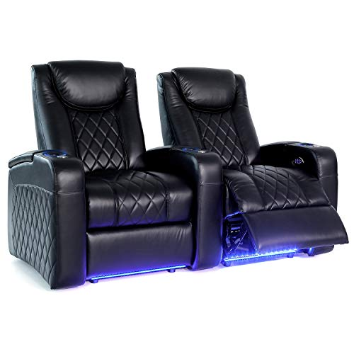 Octane Seating Azure LHR Home Theater Seats - Black Top Grain Leather - Power Recline - Motorized Lumbar & Headrest - Lighted Cup Holders - Straight Row 2