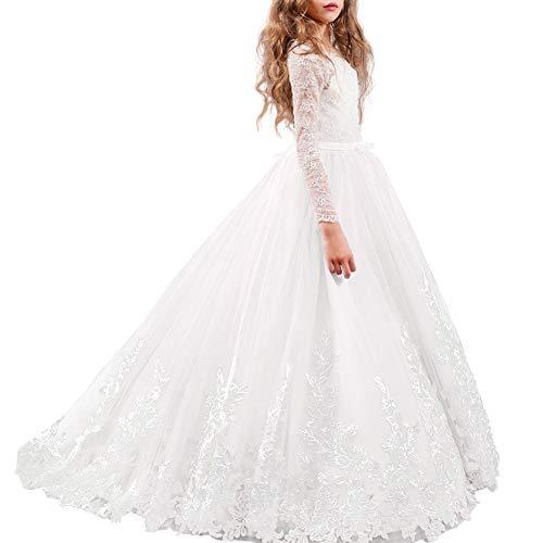 IBTOM CASTLE Vestido de Bola Cordón Vestido de niña de Flores Tul Vestido de Primera Comunión Cinturones con Arco Vestido de Fiesta Boda #5 Blanco 10-11 años