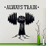Pegatinas de pared de vinilo de buena calidad pesas deportivas siempre entrenando fitness deportes gimnasio yoga power decal art 58X62Cm