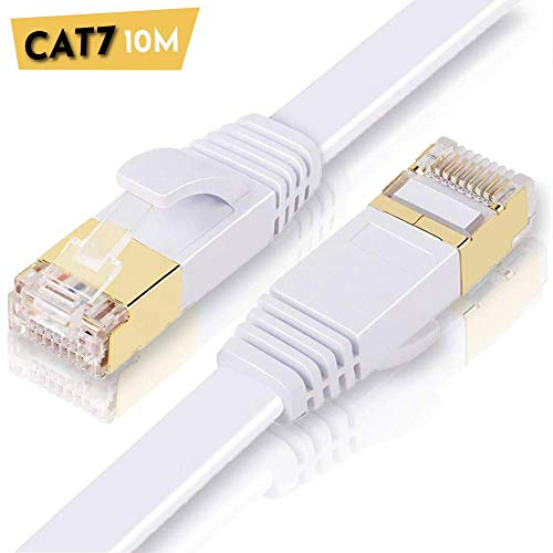 ULTRICS CAT7 Ethernet Kabel 10M, High-Speed 10Gbps RJ45 Lan Kabel, 1000Mbit/s Flach Netzwerkkabel Kompatibel mit CAT 5/5e/6A, Switch, Router, Modem, Patchfelder, PS4, Xbox One, Access Point