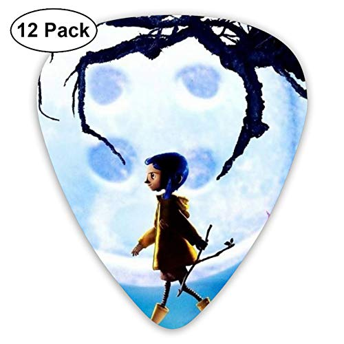 Coraline Unique Guitar Picks 12 Pick And Plastic Picks Box, Guitar Cool Picks For Bass Electric Guitar Acoustic Guitar Lovers Guitarists Gift