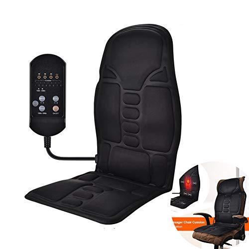 WAHHW Ganzkörpermassage Matratze, Autositz Massage Stuhl Kissen Rückenmassagegerät Vibration mit beruhigender Wärmetherapie, für beruhigenden Körper,Schwarz
