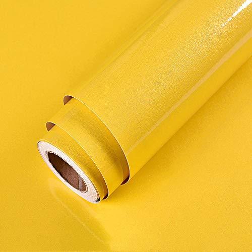 Klebefolie Möbel Selbstklebend Gelb 60cmX5m Wasserdicht Möbelfolie Folie Tapete Aufkleber Abnehmbare Dekofolie Möbelsticker Wand Vinylfolie Schlafzimmer Schränke Zähler Küchen