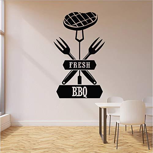 Fresco Bbq sticker vlees rund vork grill menu steakhouse interieur decoratie sticker voor ramen van vinyl creatieve belettering wanddecoratie 42 x 69 cm