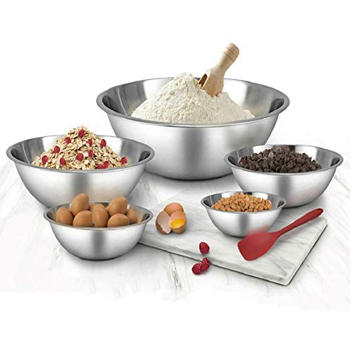 WHYSKO Meal Prep Stainless Steel Mixing Bowl (5-Piece Set) Home, Refrigerator, and Kitchen Food Storage Organizers | Ecofriendly, Heavy Duty, Reusable