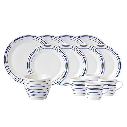 Royal Doulton Pacific Lot de 4 Lignes de Table, Porcelaine, Bleu/Blanc, 32.5 x 32.5 x 31.5 cm