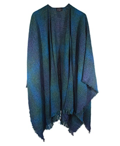 Wrap, Ruana Wraps for Women, Wool Shawl, Irish Gifts for Her, Biddy Murphy, Made in Ireland, 85% Lambswool, 54' X 72', Soft, Lightweight, Warm, Teal Check