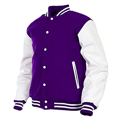 GENZ Mens Women Varsity Jacket Genuine Leather Sleeve and Wool Blend Letterman College Varsity Jackets (Purple(AR-4), Small) from
