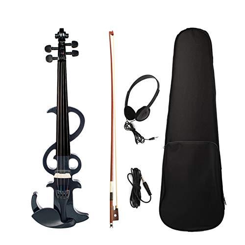 Baugger サイレントヴァイオリン、フルサイズ4/4電子サイレントバイオリンセットメープル&エボニー素材学生向け大人初心者向け音楽パフォーマンストレーニング(Bow Auxケーブルヘッドフォン付き)収納ケースブラック