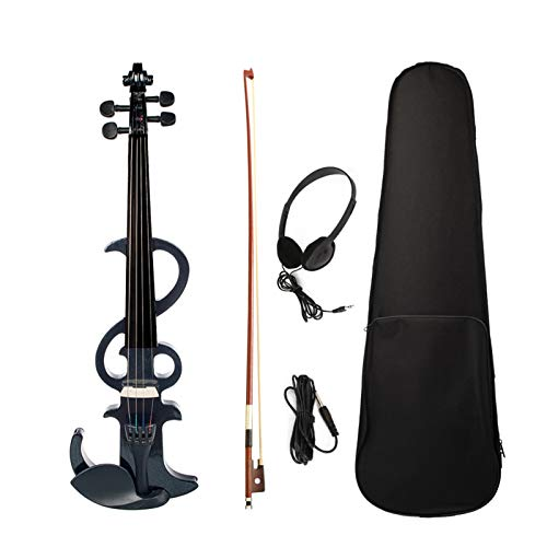 Decdeal Full Size 4/4 Electronic Silent Violin Set Maple & Ebony Material for Students Adults Beginners Music Perfomance Training with Bow Aux Cable Headphones Storage Case Black