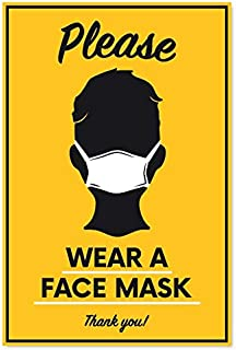 Sutter Signs Please Wear Face Mask Sticker   Large Professional Decal to Remind Customers, Visitors, and Vendors (Pack of 6)