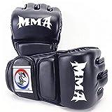 LangRay ハーフフィンガー グローブ 手袋 MMA 総合格闘技 ボクシング ムエタイ 空手 テコンドーなど トレーリング用 メンズ レディース レザー(黒)