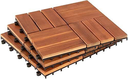 1 baldosas de terraza de clic, baldosas de madera, baldosas, balcón, jardín, 30 x 30 cm