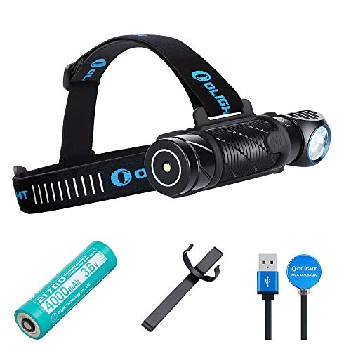 OLIGHT Perun 2 2500 Lumens Rechargeable Headlamp, Multi-functional Right Angle MCC Waterproof Flashlight With Headband, Perfect for Night Camping, Hiking, Hunting(Black)