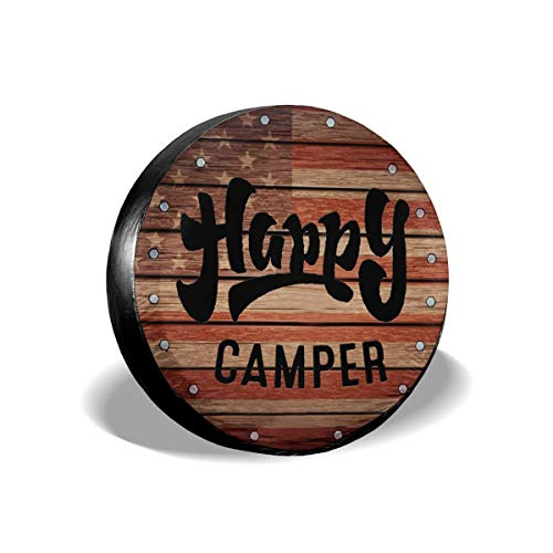 Tire Cover Happy Camper Camping Portable Polyester Universal Spare Wheel Tire Cover Wheel Covers for Trailer RV SUV Truck Camper Travel Trailer Accessories 15 Inch