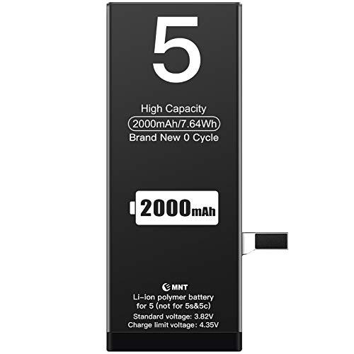 ZMNT - Batería para iPhone 5 (2000 mAh, ZMNT)