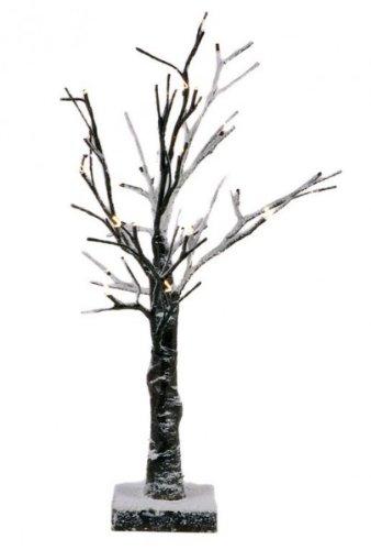 HiT Baum mit Schnee 45 cm, 24 Weisse LED, Plastik, braun, 45 x 30 x 20 cm