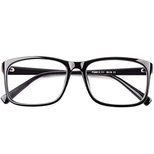 CGID CN12 Brille Extra Schmaler Rahmen! Slim Rechteck Nerd Clear Brille,Glänzend Schwarz