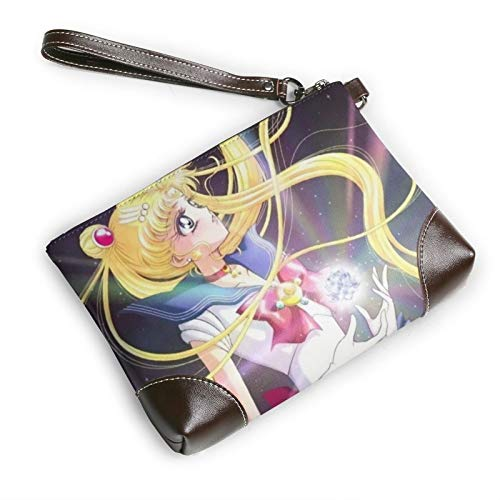 Anime Girl Sailor Moon Leather clutch Unisex Clutch Bag Women Men card wallet strap zipper Leather for Office Casual Travel